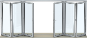 Bi-fold door with 6 panels